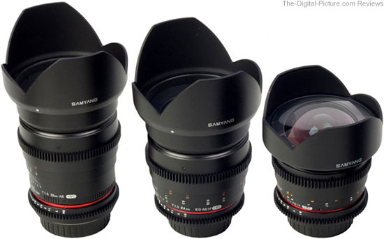 Samyang 14mm, 24mm, 35mm DSLR Cine Lenses