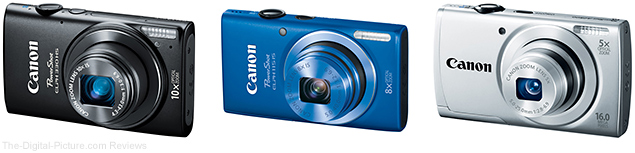 Canon PowerShot ELPH 330 HS, ELPH 115 IS, and A2500