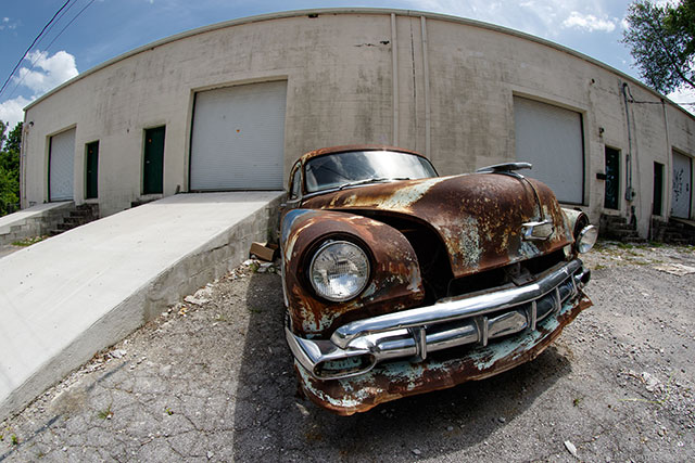 Rokinon 8mm f/3.5 Fisheye Example Old Car