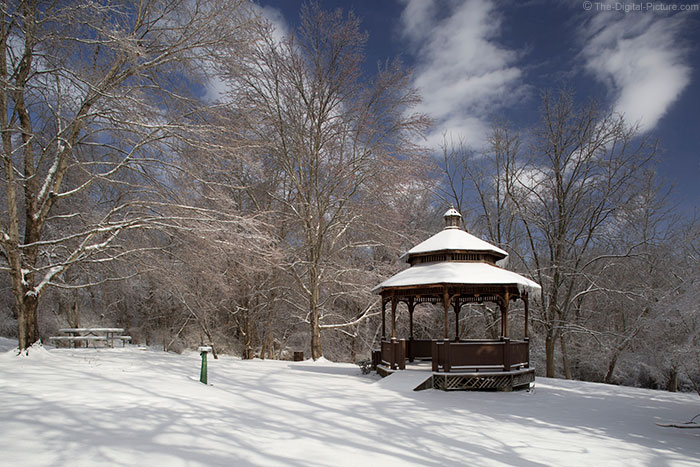 Walnut Park Gazebo in Snow