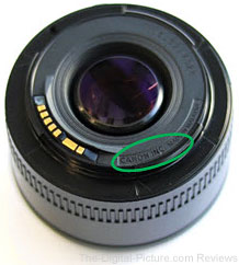 Canon EF 50mm f/1.8 II Counterfeit Identification Location