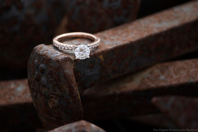 Engagement Ring on Railroad Spikes