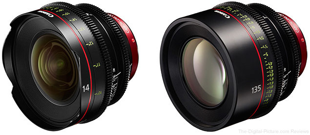 Canon CN-E 14mm T3.1 and CN-E 135mm T2.2 Lenses