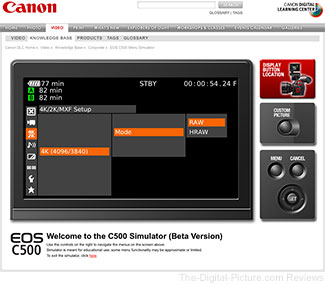 Cinema EOS C500 Digital Cinema Camera Menu Simulator