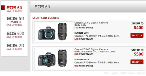 Canon DSLR Bundle Rebates at B&H