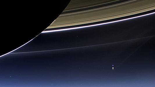 Cassini Spacecraft Captures Glimpse of Earth Beyond Saturn's Rings
