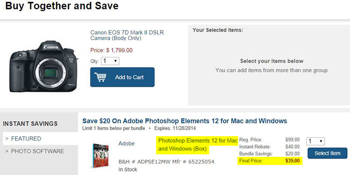 B&H Buy Together and Save - Adobe Photoshop Elements Deal