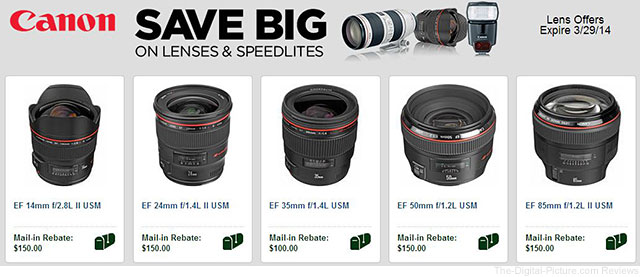 B&H's Canon Rebates Page March 2014