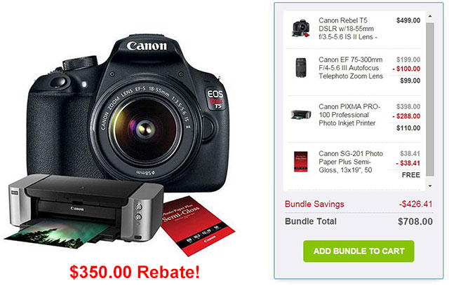 Canon EOS Rebel T5 Bundle Deal
