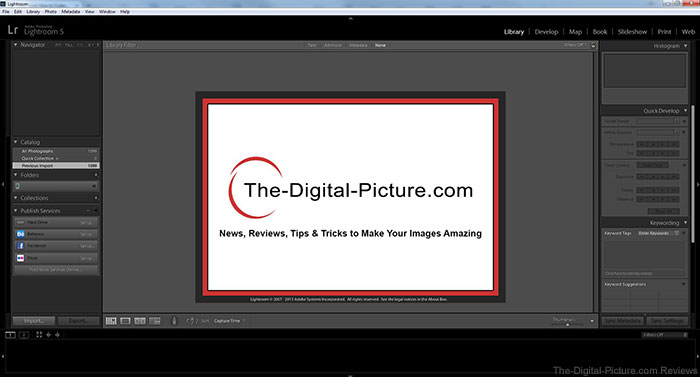 Lightroom 5 with The-Digital-Picture.com Splash Screen