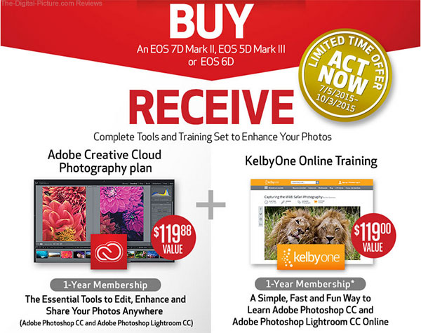 Get Free 1-Year Subscriptions to Adobe Photography Plan & KelbyOne Training with Purchase of EOS 7D II, 6D or 5D III