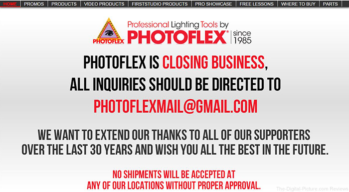 Photoflex Closing its Doors