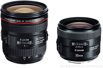 Canon EF 24-70mm f/4L IS USM Lens and Canon EF 35mm f/2 IS USM Lens