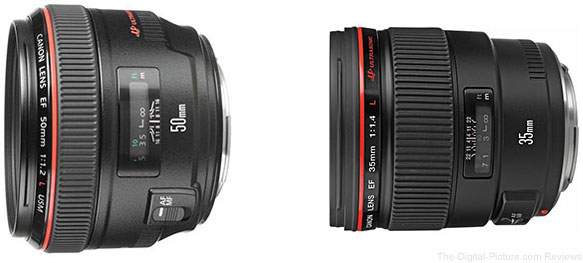 Canon EF 50mm f/1.2L USM & EF 35mm f/1.4L USM Lens Sale at Adorama