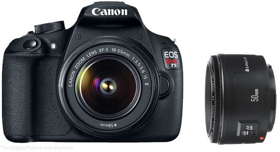 Refurb. Canon EOS Rebel T5, EF-S 18-55 IS II & EF 50mm f/1.8 II Bundle - $240.78 (Compare at 524.00 New)