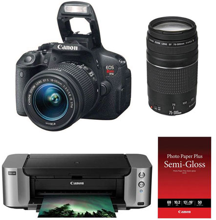 Canon EOS Rebel T5i, 18-55 IS STM, 75-300 III & PIXMA PRO-100 - $449.99 Shipped AR (Reg. $1,099.00)