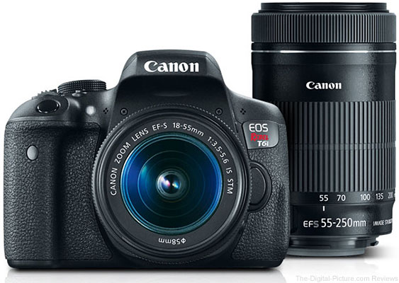Refurb. Canon EOS Rebel T6i EF-S 18-55mm IS STM & EF-S 55-250mm IS STM Lenses - $509.99 (Compare at $849.00 New)