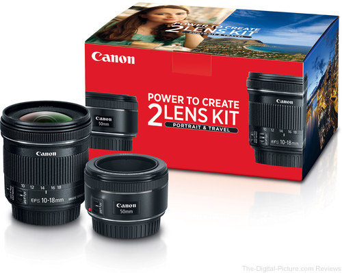 Canon 50mm f/1.8 and 10-18mm Portrait & Travel 2-Lens Kit - $319.00 Shipped (Reg. $429.00)