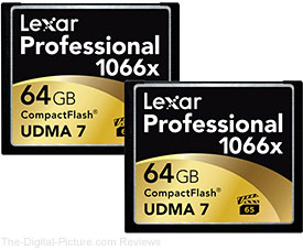 Lexar Professional 64GB 1066x Compact Flash Memory Card (2-Pack)