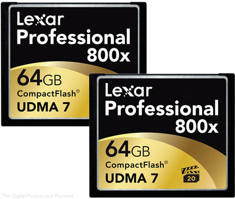 Lexar 64GB CompactFlash Memory Card Professional 800x UDMA 7 (2-Pack) - $74.24 Shipped (Reg. $97.24)