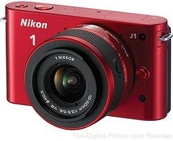 Refurbished Nikon J1 Mirrorless Camera (Red) with 2 Lenses Bundle - $299.99 (Compare at $399.00 New)