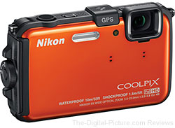 Refurbished Nikon COOLPIX AW100 Digital Camera (Orange/Black/Blue)  - $149.99 (Compare at $239.00 New)