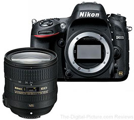 Refurbished Nikon D600 DSLR Camera Kit with Nikon 24-85mm VR Lens - $1,859.00 (Compare at $2,396.95 New)