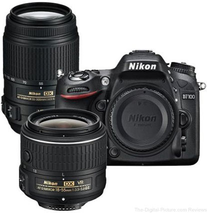 Refurb. Nikon D7100 with 18-55mm VR and 55-300 VR Lenses Bundle - $699.99