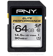 PNY 64GB SDXC Elite Performance UHS-1 90MB