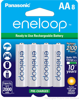Panasonic BK-3MCCA8BA Eneloop AA 2100 Cycle Ni-MH Pre-Charged Rechargeable Batteries (Pack of 8) - $15.74 (Compare at $17.84)