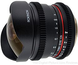 Rokinon HD 8mm T3.8 Ultra Wide Fisheye Cine Lens - $279.00 (Compare at $319.00)