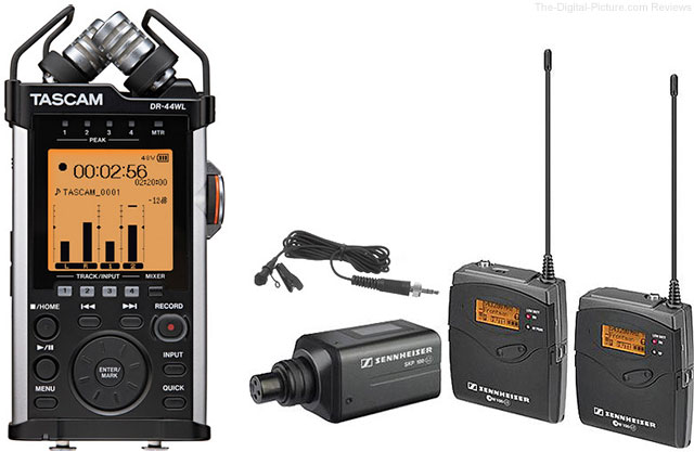 Sennheiser EW100ENGG3* Wireless Microphone System with Tascam DR-44WL Recorder
