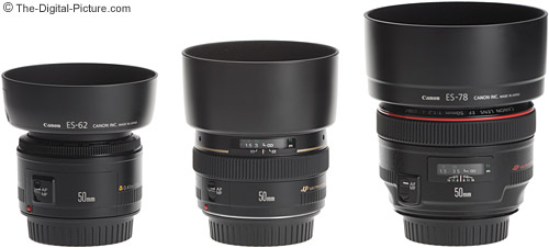Canon 50mm Lens Size Comparison - With Hoods
