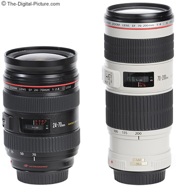 The Canon EF 24-70mm f/2.8L USM Lens is shown beside the Canon EF 70-200mm f/4L IS USM Lens