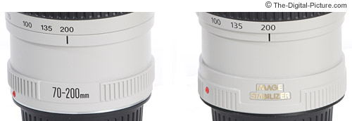 Additional Canon EF 70-200mm f/4.0 L IS USM Lens changes from the non-IS version