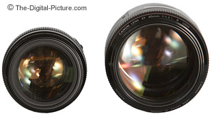From their objective ends - Canon EF 85mm f/1.8 USM Lens to the left, Canon EF 85mm f/1.2 L II USM Lens to the right