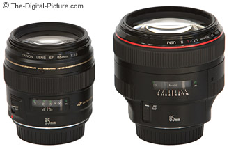 Canon EF 85mm f/1.8 USM Lens to the left, 85 f/1.2 L II to the right