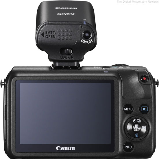 Canon Speedlite 90EX Flash on Canon EOS M Camera - Back View