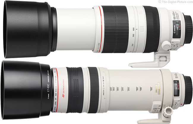 Canon 100-400mm L IS II Lens Compare to Version I with Hoods