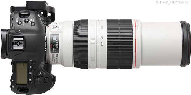 Canon EF 100-400mm L IS II USM Lens – Top View Extended with Hood