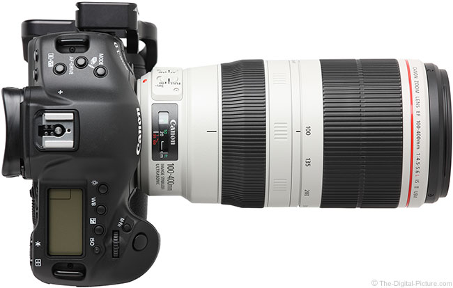 Canon EF 100-400mm L IS II USM Lens – Top View with Hood