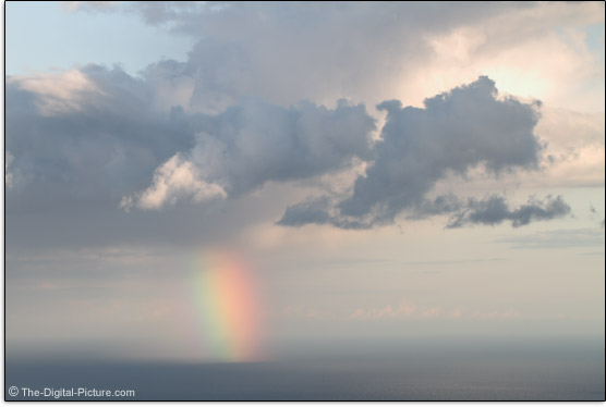 Canon EF 100mm f/2.8L IS USM Macro Lens Sample Picture - Rainbow and Storm Over Ocean