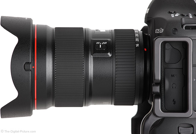 Canon EF 16-35mm f/2.8L III USM Lens Side View with Hood