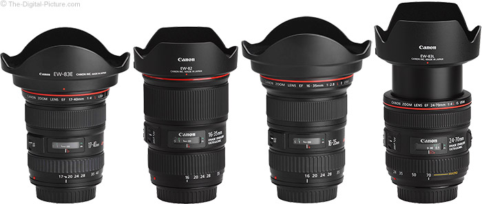 Canon EF 16-35mm f/4L IS USM Lens Compared to Similar Lenses with Hoods