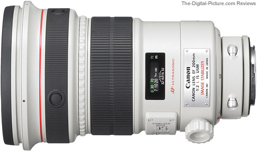 Canon EF 200mm f/2 L IS USM Lens Top View