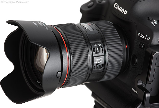 Canon EF 24-105mm f/4L IS II USM Lens Angle View with Hood