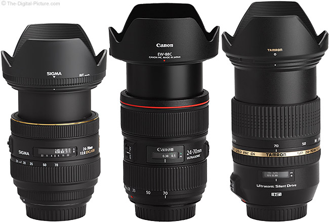 Canon EF 24-70mm f/2.8 L II USM Lens and Similar 24-70mm Lenses in Extended Position