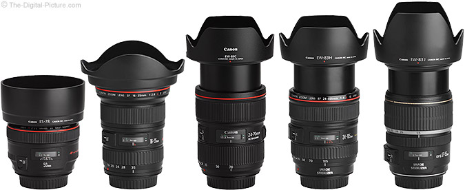 Canon EF 24-70mm f/2.8L II USM Lens and similar Canon L Lenses with Hoods
