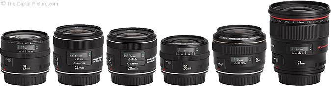 Canon EF 24mm f/2.8 IS USM Lens Compared to Similar Lenses