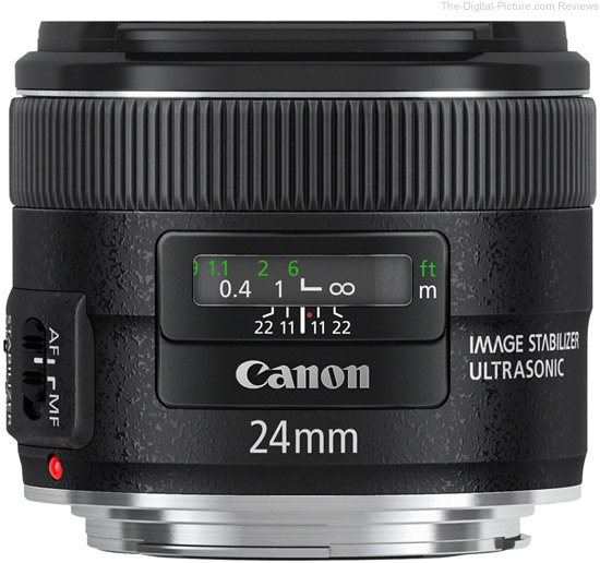 Canon EF 24mm f/2.8 IS USM Lens Side View
